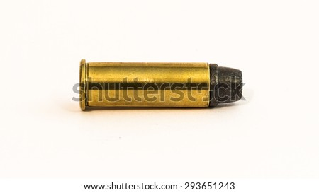 Loaded revolver cartridge with a lead bullet - stock photo