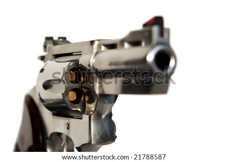 Loaded steel revolver caliber 38 isolated on white background - stock photo