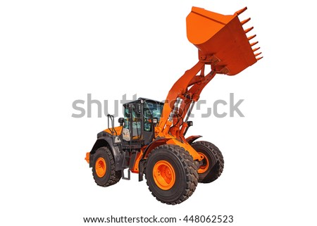 Loader excavator construction machinery equipment isolated on white background - stock photo
