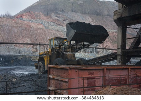 Loader loads coal into rail car. Industry - stock photo