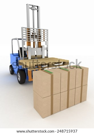 Loader without cargo. 3d image on a white background - stock photo