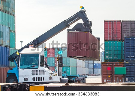 Loading and unloading of containers in the port  - stock photo