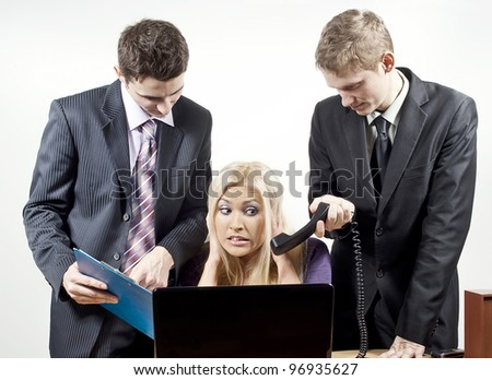 loading in the computer on a gray background - stock photo