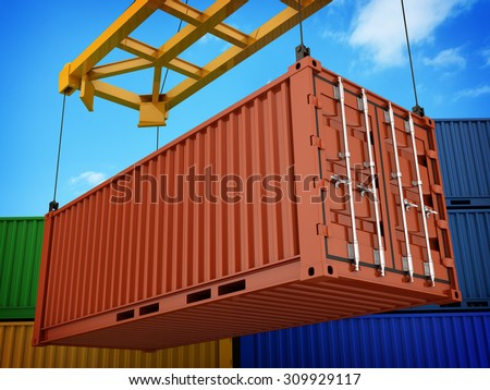 Loading red cargo Container (done in 3d) - stock photo