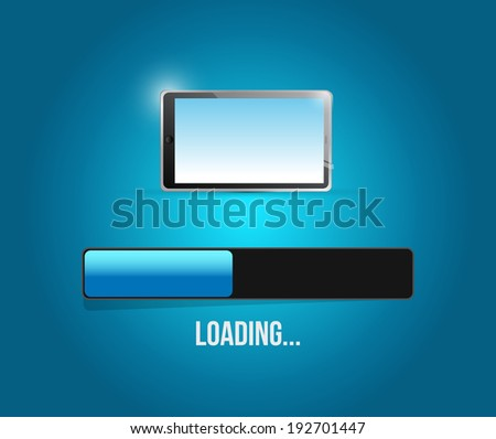 loading tablet updates illustration design over a blue background - stock photo
