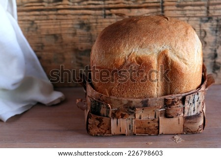 loaf of bread. Close up. Selective focus. - stock photo