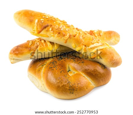 loaf of bread isolated on white background - stock photo