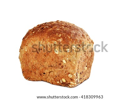 Loaf of brown whole grain bread with sunflower and sesame seeds isolated on white background - stock photo