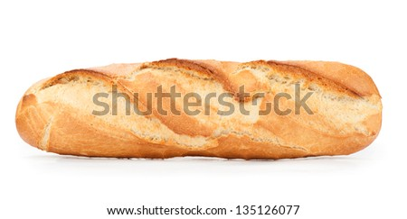 Loaf of French Baguette Bread over white - stock photo