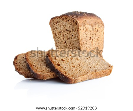Loaf of rye bread and slices isolated on white background - stock photo