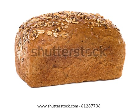 loaf of whole rye bread isolated on white background - stock photo