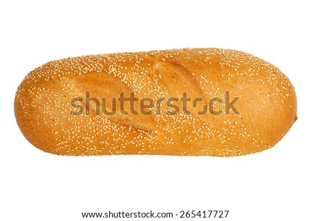 loaf of whole wheat bread with sesame seeds isolated on white - stock photo