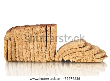 loaf sliced with reflection isolated on white - stock photo