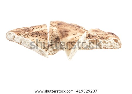 loafs of pitta bread isolated on white - stock photo