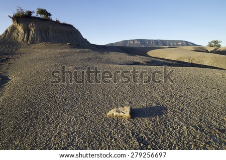 Loam landscape in Pyrenees, Aragon, Spain. - stock photo