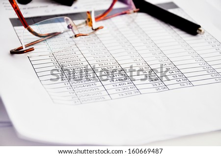 Loan schedule table sheet - stock photo