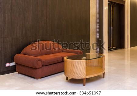Lobby area of a hotel, office. Interior design concept - stock photo