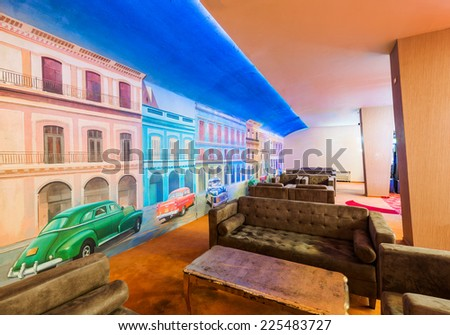 Lobby in casino interior - stock photo