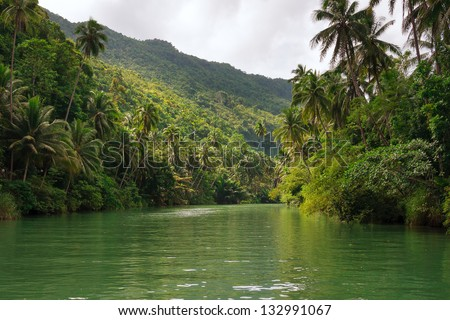 Loboc river, Bohol Island, Philippines - stock photo