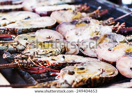 Lobsters background with selective focus - stock photo