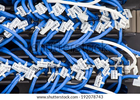 Local area network switch and un twice pair Ethernet cables - stock photo