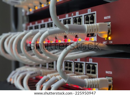Local area network switch (LAN) ethernet cables on panel borad - stock photo