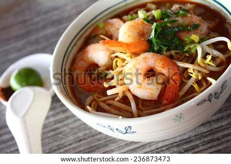 Local cuisine Sarawak Laksa in Sarawak, Malaysia - stock photo