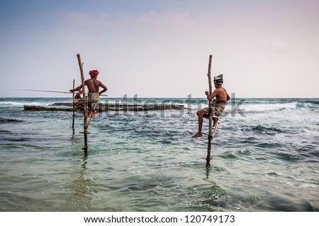 Local fishermen in Ahangama, Sri Lanka. - stock photo