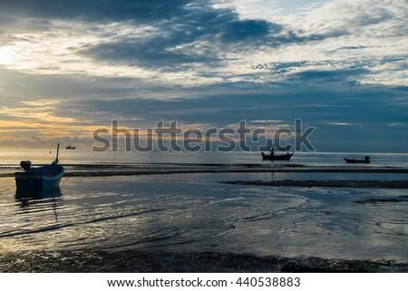 Local fishing boats near sea, Hua Hin, Thailand - stock photo