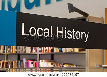 Local History section sign inside a modern public library - stock photo