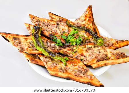 local meat pide - stock photo
