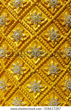 Local Thai art pattern, Golden and diamond of Sculpture Thai style(Line Thai) - stock photo