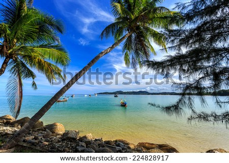 Local Traditional boats, Bangtao beach, Phuket, Thailand - stock photo