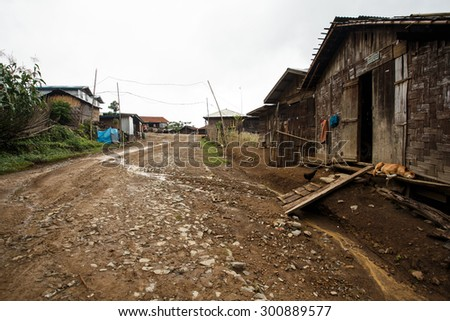 Local village in Chin State Mountainous Region, Myanmar (Burma) - stock photo
