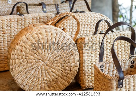 Local weave bag in Thailand. - stock photo