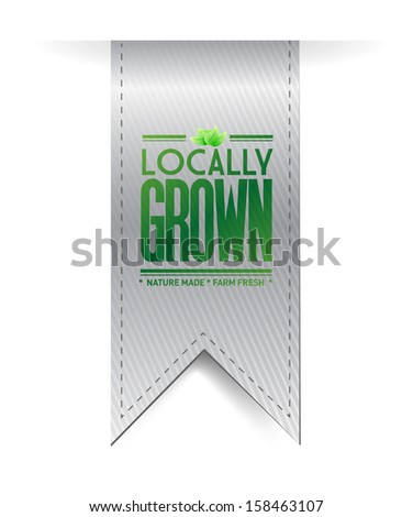 locally grown grey banner illustration design over white - stock photo
