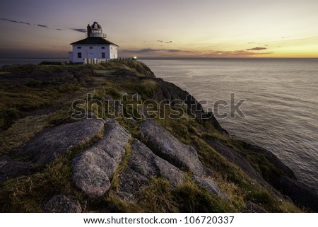 Located at the most easterly point of land in North America, Cape Spear Lighthouse is the oldest surviving lighthouse in Newfoundland. - stock photo