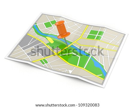 Location. Map and thumbtack. GPS concept. 3d - stock photo