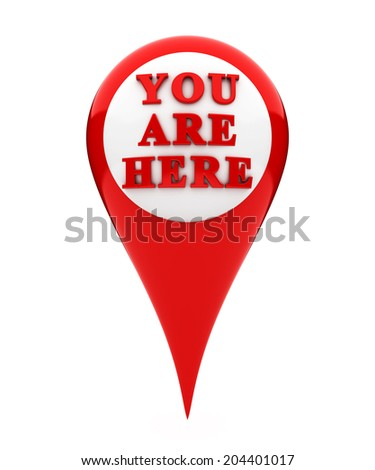 Location marker showing you are here - stock photo