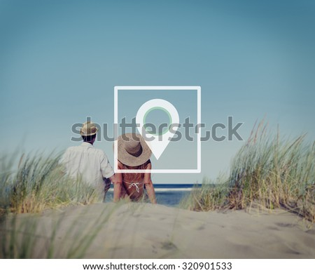 Location Navigation Destination Journey Position Concept - stock photo
