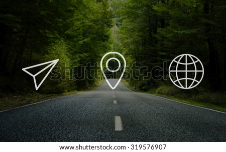 Location Navigation Travel Trip Place Journey Concept - stock photo