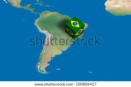 Location of Brazil over the map - stock photo