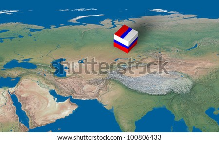 Location of Russia over the map - stock photo
