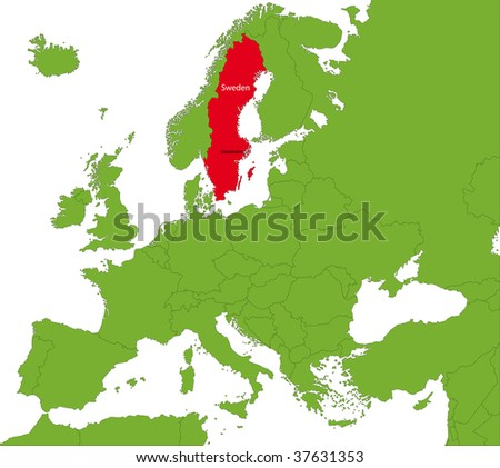 Location of Sweden on the Europa continent - stock photo