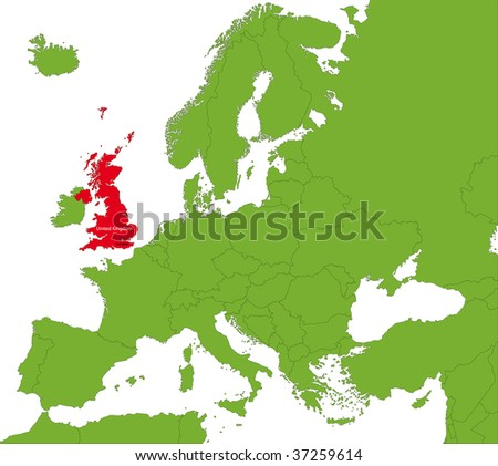 Location of the United Kingdom on the Europa continent - stock photo