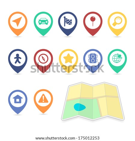 Location UI design elements, contrast color isolated  illustration - stock photo