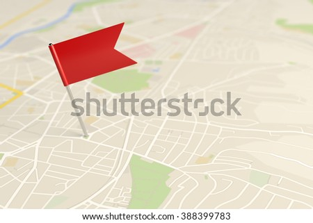 Locator flag on a city map - stock photo