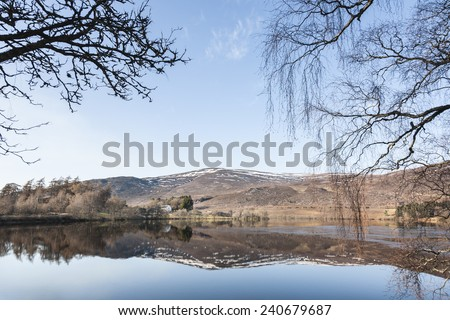 Loch Alvie in Cairngorm National Park in Scotland. - stock photo