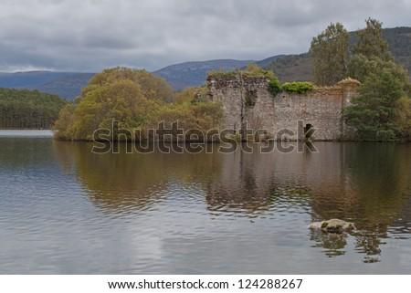 Loch an Eilean Castle, Scotland. - stock photo