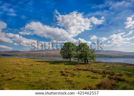 Loch Eil with trees near the Fort William in Scotland - stock photo